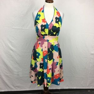 Jessica Simpson Abstract Floral Halter Dress